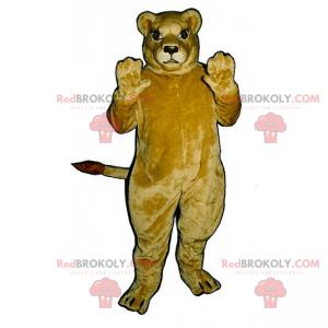 Maskot béžová lvice s velkýma očima - Redbrokoly.com