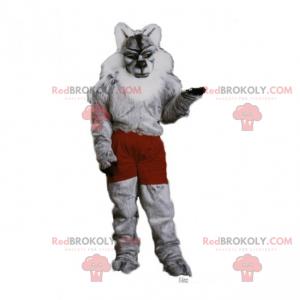 Vlk maskot v šortkách - Redbrokoly.com