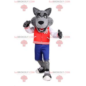 Vlk maskot ve sportovní dospívající oblečení - Redbrokoly.com