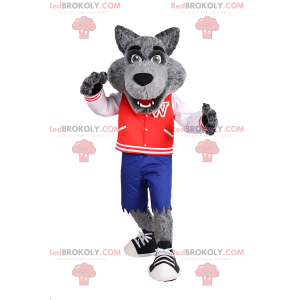 Wolf mascot in sporty teenage outfit - Redbrokoly.com