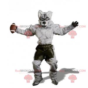 Wolf mascot dressed in American football - Redbrokoly.com