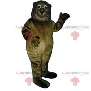 Mascotte di lontra con baffi bianchi - Redbrokoly.com