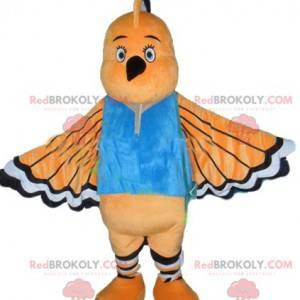 Maskot oranžový bílý a černý pták s dlouhým zobákem -