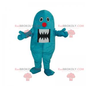 Blå monster maskot med rød nese - Redbrokoly.com