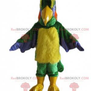 Obří a chlupatý různobarevný ptačí maskot - Redbrokoly.com