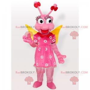 Różowa mucha maskotka i sukienka w kwiatki - Redbrokoly.com
