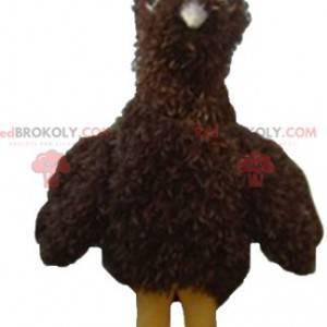 Brown and yellow bird mascot all hairy - Redbrokoly.com