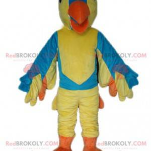 Maskotka gigantyczny niebieski i pomarańczowy żółty ptak -