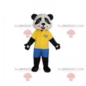 Panda-Maskottchen mit gelbem Poloshirt und Shorts -