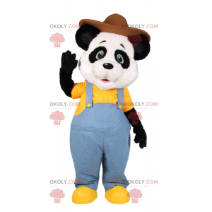 Panda mascot in blue overalls and brown hat - Redbrokoly.com
