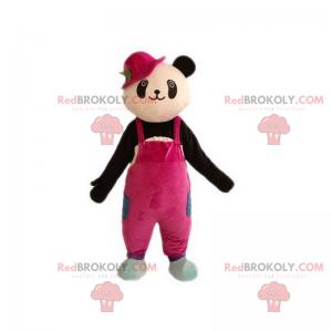 Panda maskot v růžové kombinéze - Redbrokoly.com