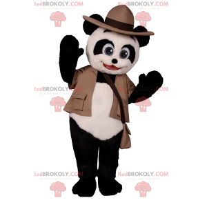 Maskotka Panda w stroju odkrywcy - Redbrokoly.com