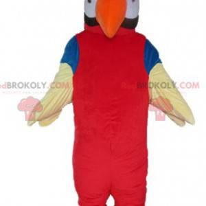 Maskot obří papoušek červená oranžová modrá a bílá -