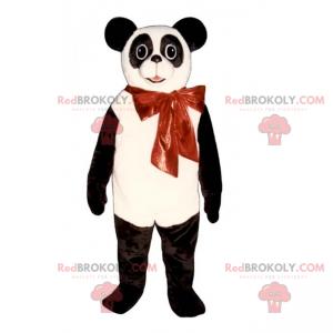 Panda mascot and red bow - Redbrokoly.com