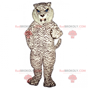 Biała pantera maskotka z niebieskimi oczami - Redbrokoly.com