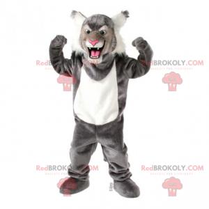 Šedý a bílý panter maskot - Redbrokoly.com