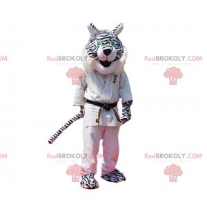 Schwarz-Weiß-Panther-Maskottchen im Judo-Outfit - Redbrokoly.com