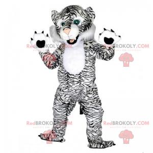 Schwarzweiss-Panthermaskottchen mit grünen Augen -