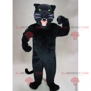 Schwarzes Panther-Maskottchen mit weißen Schnurrbärten -