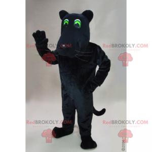 Schwarzes Panthermaskottchen mit grünen Augen - Redbrokoly.com
