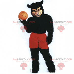 Black panther mascot in basketball outfit - Redbrokoly.com