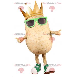 Bramborový maskot se slunečními brýlemi a královskou korunou -