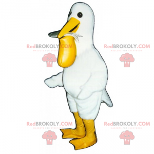 Pelikan maskotka z rybą - Redbrokoly.com