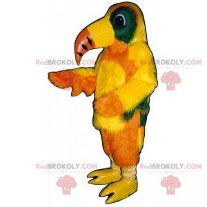 Maskottchen gelber Papagei mit langem Schnabel - Redbrokoly.com