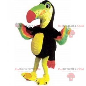 Papegøje maskot med flerfarvet fjerdragt - Redbrokoly.com