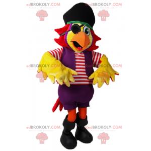 Maskot papouška v pirátské oblečení - Redbrokoly.com