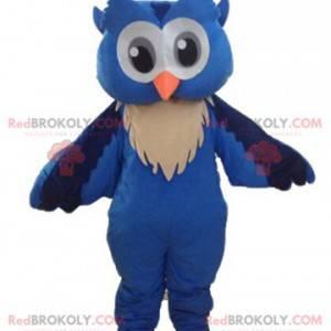 Modré a bílé sova maskot s velkýma očima - Redbrokoly.com