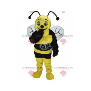 Gul og svart bie-maskot - Redbrokoly.com