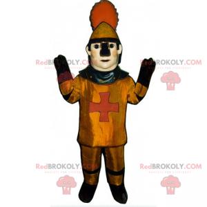 Mascote de personagem histórico - soldado da Idade Média -