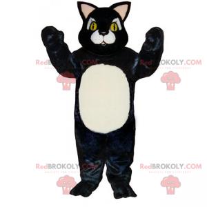 Kleines schwarzes Katzenmaskottchen mit weißem Bauch -