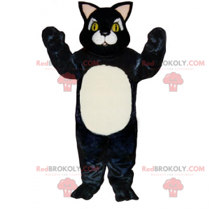 Little black cat mascot with white belly - Redbrokoly.com
