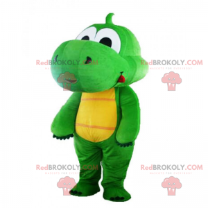 Mascot liten grønn dinosaur med stor nese - Redbrokoly.com