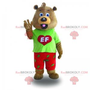 Mascot pequeña ardilla marrón con traje rojo y verde -