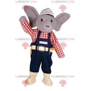 Malý slon maskot s čepicí a pracovní oblečení - Redbrokoly.com