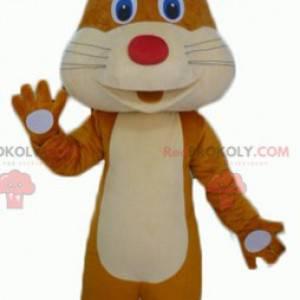 Roztomilý a žoviální hnědý a béžový maskot králíka -