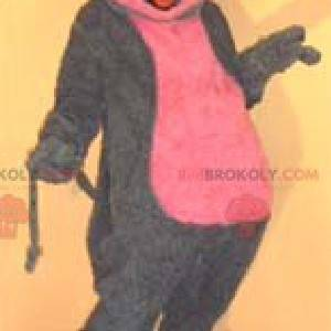 Grå og rosa musemaskot - Redbrokoly.com