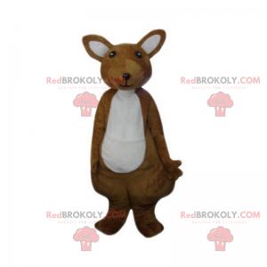 Maskot malý hnědý a bílý klokan - Redbrokoly.com