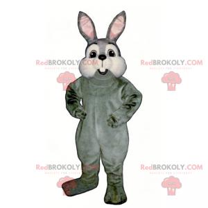 Maskot malý šedý králík a bílé tváře - Redbrokoly.com