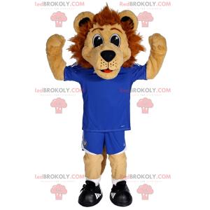 Malý lev maskot v modré fotbalové vybavení - Redbrokoly.com