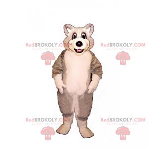 Maskot malý bílý a šedý vlk - Redbrokoly.com