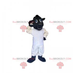 Mascote ovelhinha preta e branca - Redbrokoly.com