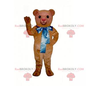 Malý maskot medvídka s velkou modrou mašlí - Redbrokoly.com