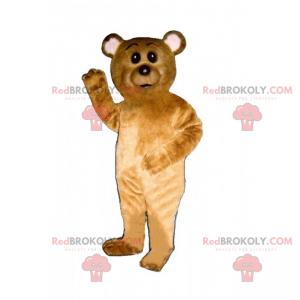 Maskot malý medvěd hnědý a bílé uši - Redbrokoly.com