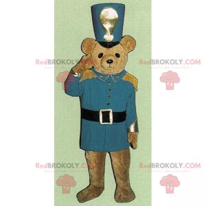 Kleines Teddybär-Maskottchen als Nussknacker verkleidet -