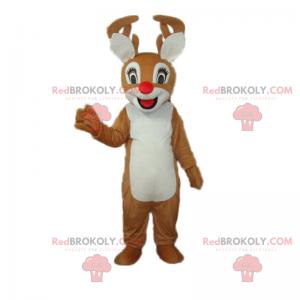 Lille reinsdyrmaskot smilende med rød nese - Redbrokoly.com