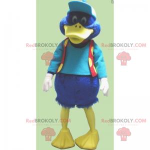 Kleines blaues Entenmaskottchen mit Mütze und Jacke -